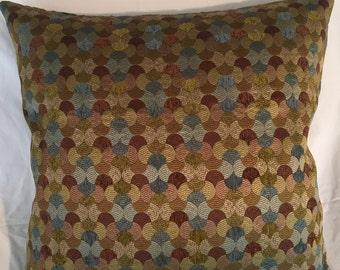"Aqua Green Brown Tan Geometric Decorative Pillow Cover Throw Pillow 20"""