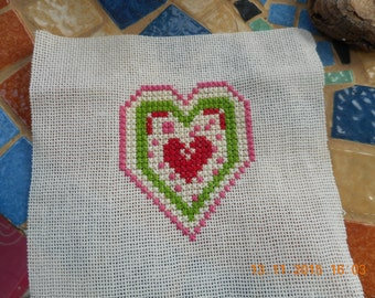 Embroidered heart cross stitch