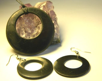 Shungite Earrings and Shungite Pendant Double Circle. Magic emf protection stone from Karelia