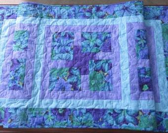 Quilted Petunias Table Runner, Kaffe Fassett Petunia Quilted Table Runner; Purple, Lilac, Royal Blue, Turquoise, Kelly Green Table Runner