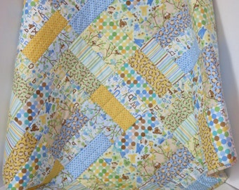 Baby Boy Quilt, Owls Monkeys Alphabet, Blue Yellow Green Baby Quilt, Nursery Crib Quilt, Baby Shower Gift, Quiltsy Handmade, Nursery Bedding