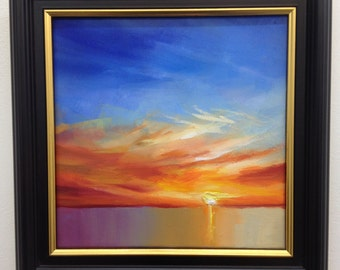 Sunset Oil Painting on Canvas, Cast, 20x20cm