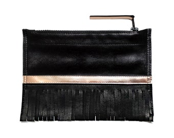 Black Italian Leather Clutch, Evening Clutch, Zippered Pouch with Fringes and Rose Gold Metallic Elements. Gift for her