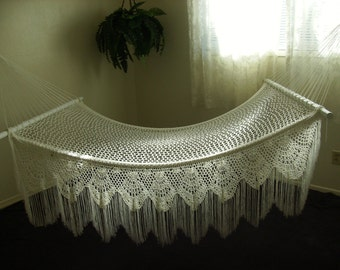 Victorian Garden Hammocks/#17,White Nylon, Hand Crocheted/Standard Size/Wedding Photography
