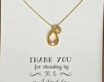 Personalized Bridesmaid Gift Necklace, Peach Bridesmaid Necklace Gold Initial, Blush Bridesmaid Personalized Necklace, Gift Ideas, HP1