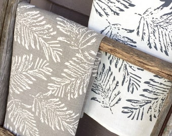 Off- white Fern Linen Tea Towel Screen Printed, Handmade in Australia- sustainable fabrics