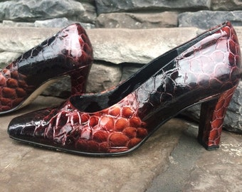 Vintage Leather J. Renee Snakeskin Pumps | Black and Brown Leather Chunky Heels |