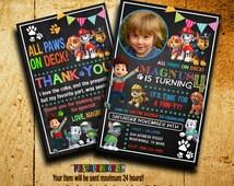 Invitations - Paw Patrol Invitation - Paw Patrol Birthday - Paw Patrol Party - Boys Invitation - Paw Party - Paw Birthday - FA1