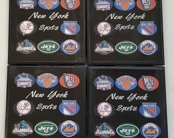 NY Sports Teams Ceramic Tile Drink Coasters / NY Sports Teams Coaster Set