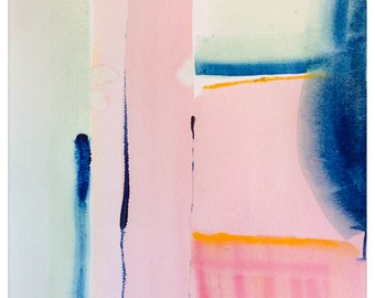"""Original Watercolor Painting, """"Pink and Blue"""" Small Painting"""