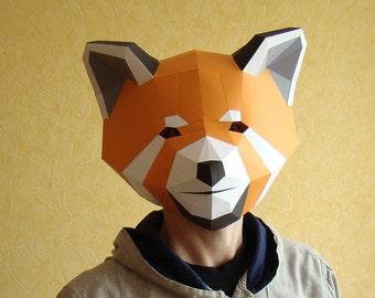 Red Panda Mask, Papercraft DIY PDF template, Printable Mask, Instant Pdf download, DIY Paper Mask, Polygon Masks