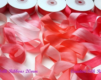 10 metres of 20mm Pure Silk Ribbons 5 pink shades SCENTED GERANIUM .