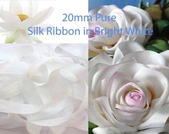 5 meters of 20 mm 100% pure silk taffeta WHITE ribbon.