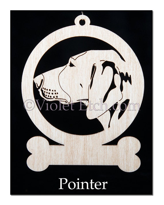 Pointer Ornament-Pointer Gift-Wood Pointer Ornament-Free Personalization