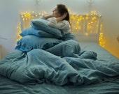 Linen duvet cover. Aquamarine. Linen bedding. Stonewashed linen bedding, softened linen. Linen duvet cover. Blue duvet cover, twin, queen