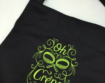Oh Crepe funny kitchen apron, green and black apron, green kitchen decor, funny housewarming gifts, crepe kitchen, blavk aprons, green apron