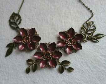 Burgundy flowers steampunk necklace