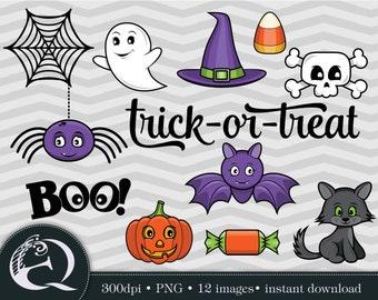 Halloween Clip Art: 12 Halloween Images, PNG files, Instant Download