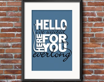 Foo Fighters Print - Everlong - Foo Fighters Lyric Print, Foo Fighters Poster, Song Music Lyric Print, Instant Download