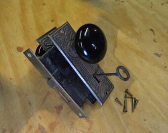 Antique Door Lock, Porcelain Door Knob, Eastlake Hardware, #355