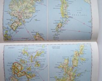 Road Atlas of Britain by Bartholomew, 1977 British Road Atlas Hard Back Vintage Atlas, Map Supply