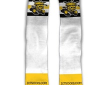 Wichita State Shockers Old School Three Stripe Custom Made Shockers Socks Awesome Custom Made Shocker Socks Officially Licensed Products