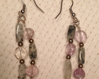 Handmade Genuine Purple Amethyst Rutile Quartz Crystal Stone Silver double dangle Beaded Earrings Jewelry