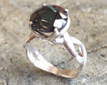 Emerald Ring, Created Emerald, Emerald Green Ring, Dark Emerald, Promise Ring, Emerald Promise Ring, Engagement Ring, Solid Silver Ring