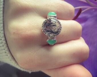 Rutilated Quartz Ring, Rutilated Quartz, Black Rutilated, Chrysoprase Ring, Statement Ring, Unique Ring, Natural Gmes