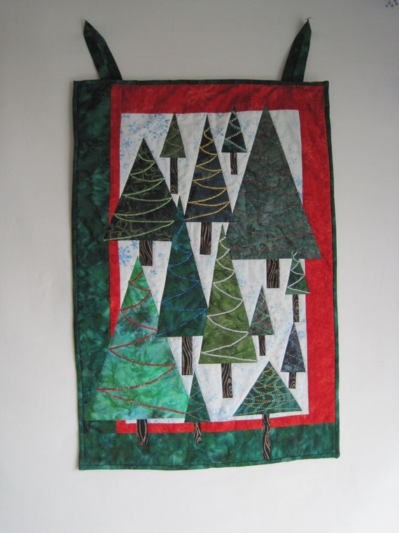 Christmas Trees Wall Hanging - Trees in a Snowy Meadow - Batik - Applique - Approx 19 x 28 Inches - Metallic Thread as Garland - Sparkles
