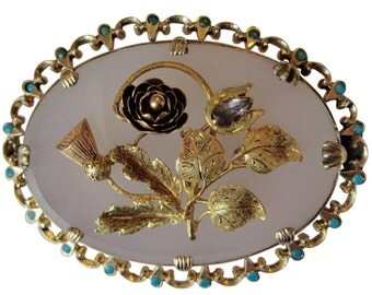 Victorian Thistle & Flower Chalcedony Turquoise Brooch in 15K Yellow, Rose and Green Gold