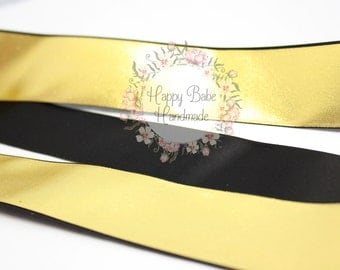 Black and Gold Ribbon, Metallic Gold Ribbon, 1--1/2 Inch, Pay Per Yard, Satin Black Ribbon, Wedding Ribbon, Black and Gold, Gift Wrap