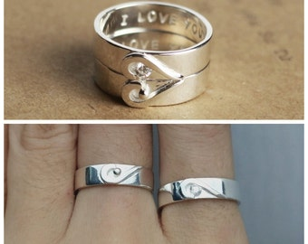 Matching Promise Ring Set  Couple Rings Promise Ring Heart Couple Ring