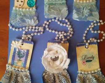 Mixed media gift tags ( set 6 tags) blue gift tags tags with pearls