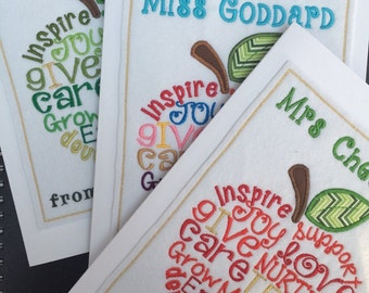Thank You Teacher Card, End of Term, Class Card, Teacher's gift, Teachers apple, Gift for Teacher, handmade, embroidered teacher card, large