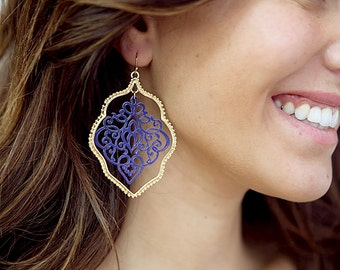 Painted Lace Earrings - Navy/Gold