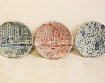 3 Vintage Nymolle pin dishes Mid Century Danish limited edition Scandinavian Art pottery KOBENHAVN
