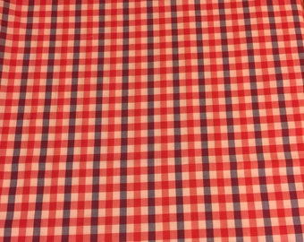Red and Blue Gingham Fabric. 1/2 yd. Red Gingham Fabric. Picnic Fabric Red Plaid Fabric. Blue Plaid Fabric. Red Check Fabric Summer Fabric