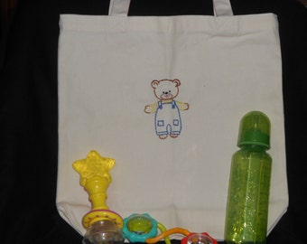 Hand embroidered baby tote