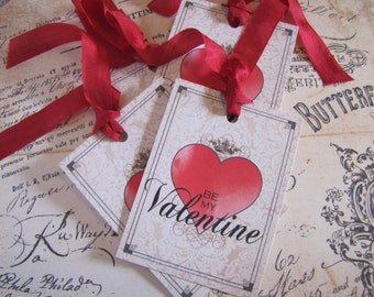 Valentine Tags-Be My Valentine with Crown-Set of 6