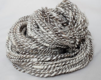 """Ryeland and Merino 2-ply, Natural Grey and White, from Hand-Processed Fleece, Handspun/ Un-dyed, Worsted/ Aran - """"Swansea Beach"""""""