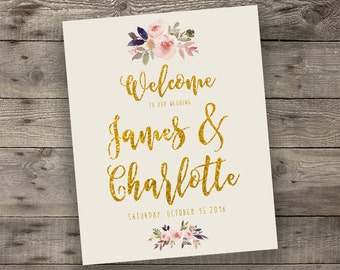 Floral Wedding Welcome Sign, Wedding Entrance Sign, Printable Boho Chic Welcome Sign, Bohemian Wedding Greeting, Digital File