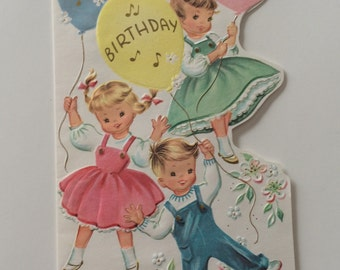 Vintage Little Children Playing with Balloon Birthday Greeting Card ~ USED