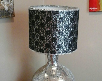 Sequin lamp: Black lace drum lamp shade with a silver sequin/rhinestones