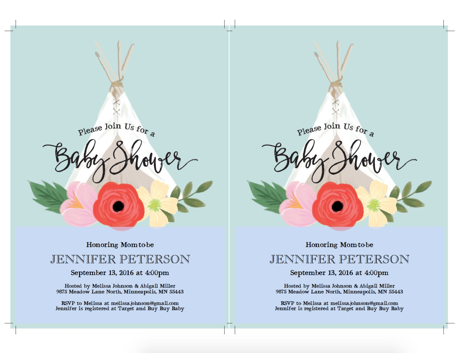TeePee Boho Chic Baby Shower Invitation Template