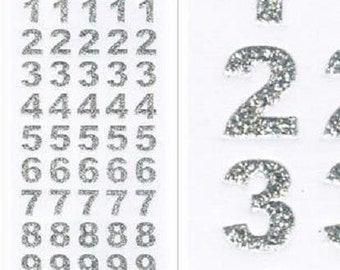 15mm Tall Silver Glitter Bold Numbers Craft Stickers for Card Making, Embellishments, Scrap Booking, Gift Tags, Craft Projects