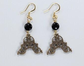 Vintage Brass and Black Onyx Earrings