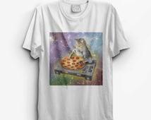 Cat DJ Trippy Psychadelic PIZZA T Shirt Womens Graphic Tee , Logo Tshirt , Girls Printed Top