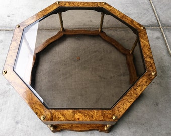 Vintage Wood & Beveled Glass Octagon Coffee Table