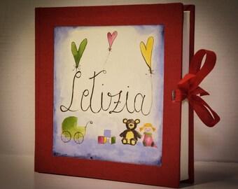 Handmade fabric photo album, customizable. Hand-painted. (Hand made photo albums, customizable)